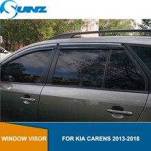 รถหน้าต่างฝนสำหรับKIA CARENS 2013 2014 2015 2016 2017 2018 Visor Vent Shades Sun Rain Deflector guard SUNZ