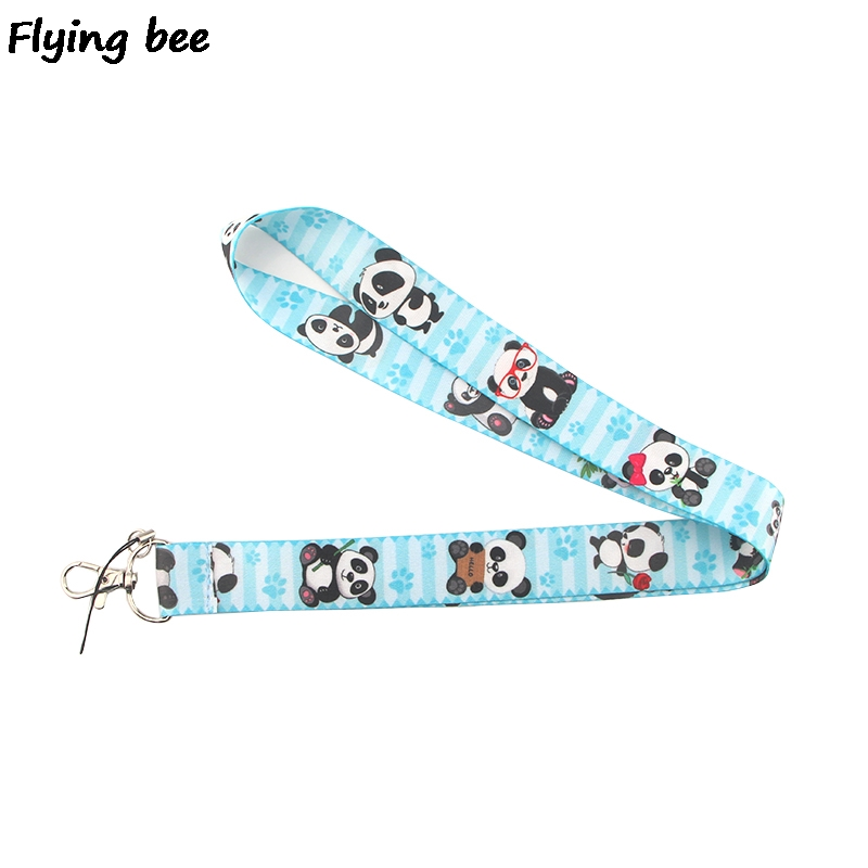 Flyingbee Cute Panda Lanyard Phone Rope Keychains Phone Lanyard For Keys ID Card Cartoon Lanyards For Men Women X0381