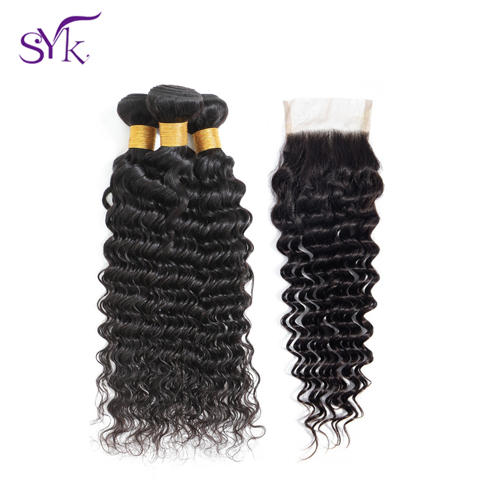 SYK HAIR Malaysian Deep Wave Human Hair 3 Bundles With Closure Non Remy Hair Natural Color Human Hair Bundles With Closure