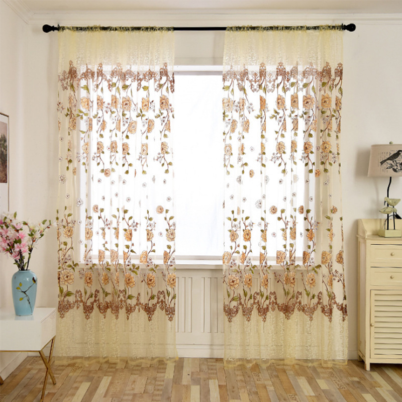 Europe Jacquard Curtains Drape Panel Sheer Window Curtains Tulle Fabrics For Bedroom Living Room Home Decor Window Treatments