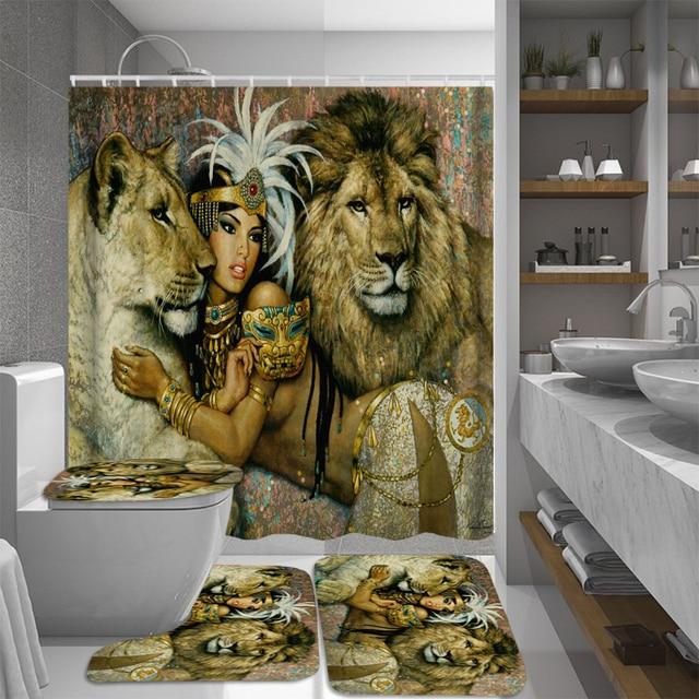 Africa Queen Women Shower Curtain African Girl Princess Bathroom Curtains Anti-skid Bath Rugs Carpet Toilet Lid Cover Bath Mat
