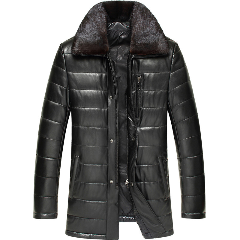 Genuine Leather Jacket Winter Jacket Men Mink Fur Collar Real Sheepskin Coat for Men Warm Down Cotton Chaqueta LSY070165 MY1737
