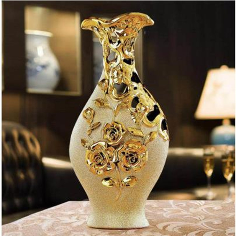 European-style golden vase decoration, ceramic handicraft decoration, living room home decoration, wedding gift