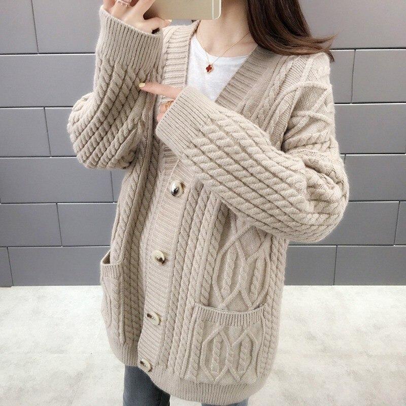 Cardigan pull femmes 2019 nouveau automne hiver femme solide Long tricoté Crochet pull veste manteau décontractée pull femme