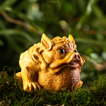 Gold toads solid Wood Carving Animals Spittor Boxwood Carving Furnishing Home Decor Article Play Handlebar Arts and Crafts