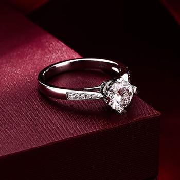 Sterling Silver Moissanite Zircon Engagement Ring  2