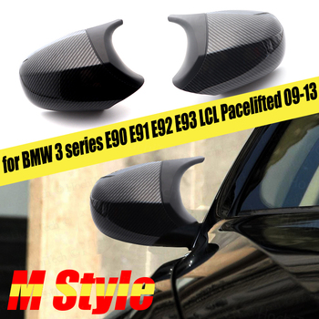 Car Styling Black Pre-facelifted 2ps Carbon Fiber Pattern Rearview Mirror Cover Cap for BMW E90 E91 E92 E93 LCI M3 Style image