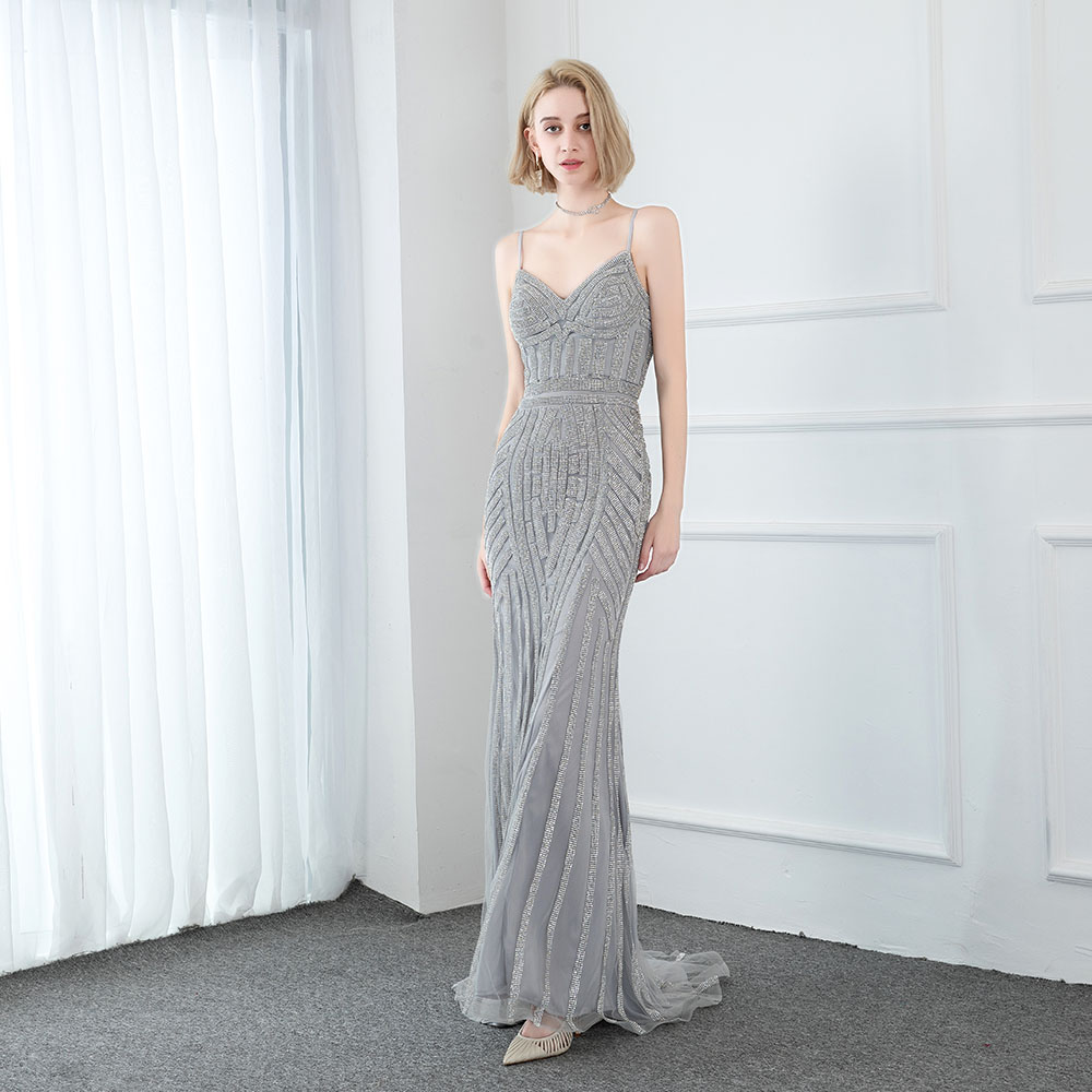 Luxury Silver Crystals Mermaid Prom Dresses Long Straps Sleeveless Formal Evening Gowns Ladies Dress Party Elegant