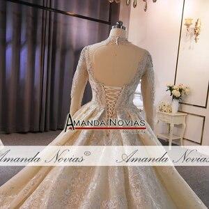 Image 2 - Yüksek boyun çizgisi tam boncuk düğün elbisesi uzun tren ile müşteri sipariş amanda novias