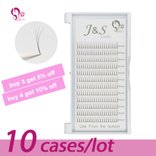 Sales J&S 5trays/lot Wholesale  Korea 0.10 Silk Individual faux Mink Lashes 6D pre made fans Eyelash Extension Soft Natural