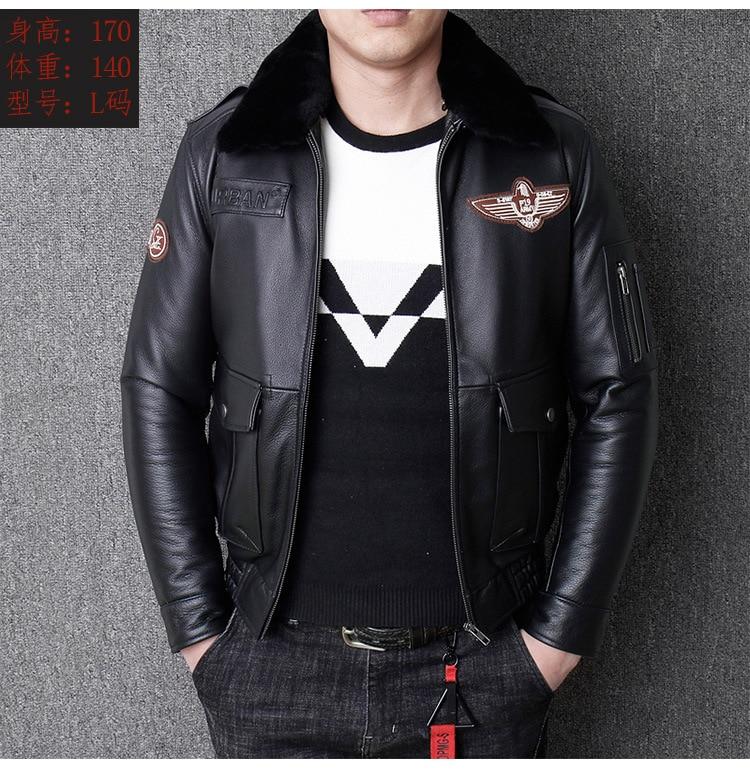 H44a659483d0b4058a2c6f90d72da403dX 2019 Vintage Men's G1 Air Force Pilot Jackets Genuine Leather Cowhide Jacket Plus Size 5XL Fur Collar Winter Coat for Male