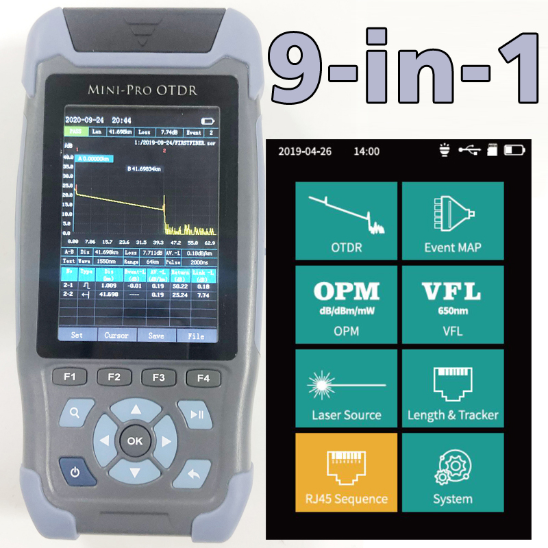 Pro мини волоконно-оптический рефлектометр 980rev с 9 функциями VFL OLS OPM карта событий 24dB для 64 км волоконный кабель Ethernet тестер