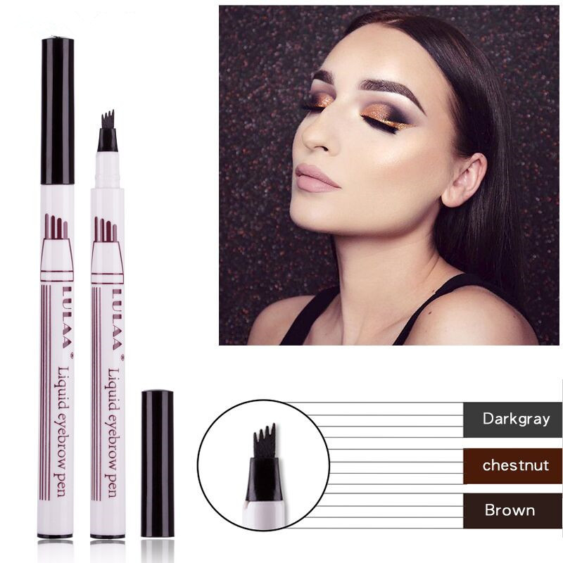 1PC 3 Colors Eyebrow Pencil Waterproof Fork Tip Eyebrow Tattoo 4 Head Pen  Fine Sketch Liquid Eyebrow Enhancer Dye Tint Pen