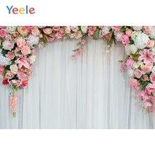 Фоны для фотосъемки Yeele, свадебные декорации с аркой, цветами, занавесками, персонализированные фотографические фоны для фотостудии
