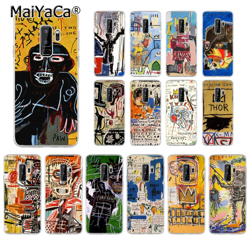 MaiYaCa Jean Michel Basquiat Art Graffiti TPU Soft Silicone Phone Case for Samsung  S5 S4 S3 S7 edge S9 Plus S8 plus S6