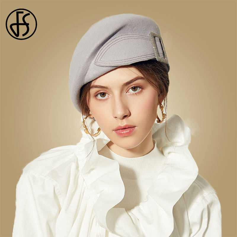 FS Black Hats Fedora Women Wide Brim Wool Felt Hat Red Flat Top Beret Ladies Hats Elegant Felt Formal Party Church Fedora Caps