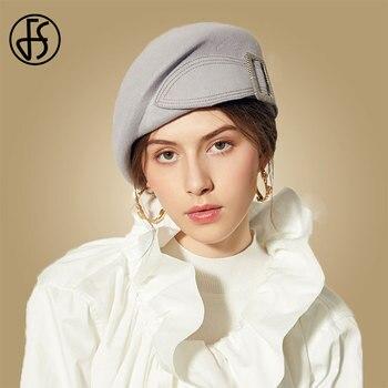 цена на FS Black Hats Fedora Women Wide Brim Wool Felt Hat Red Flat Top Beret Ladies Hats Elegant Felt Formal Party Church Fedora Caps