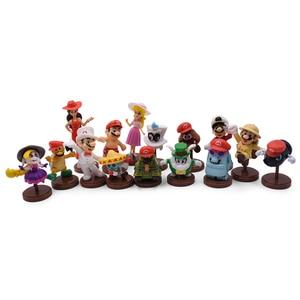 Image 2 - Gorące zabawki 15 sztuk/zestaw 3 7cm Mario Bros rysunek Luigi Yoshi pcv Action figurki zabawki lalki Mario brzoskwinia księżniczka grzyb prezenty dla dzieci