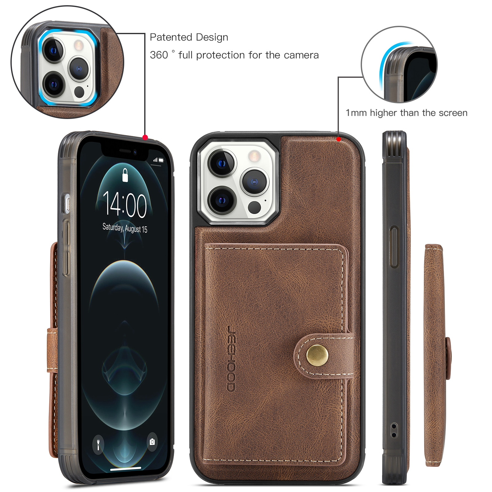 H44a68931cae44de29d4364a20bc82b8ff 2 In 1 Magnetic Wallet Luxury Leather Phone Case for IPhone
