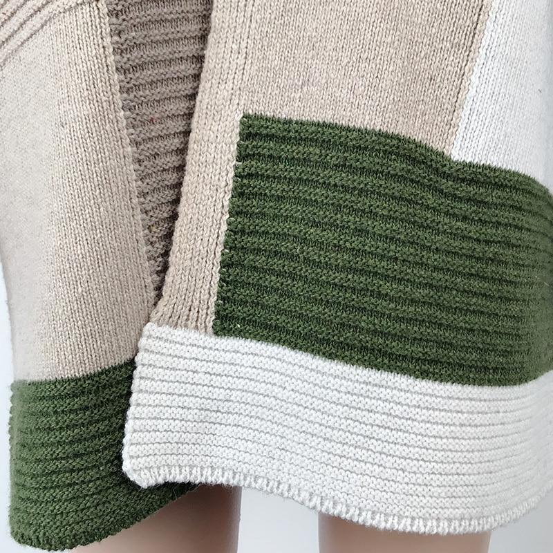 2020 Women knitted cardigan geometric stitching vintage long women sweater warm autumn winter loose cardigan coat female DR2246 (6)