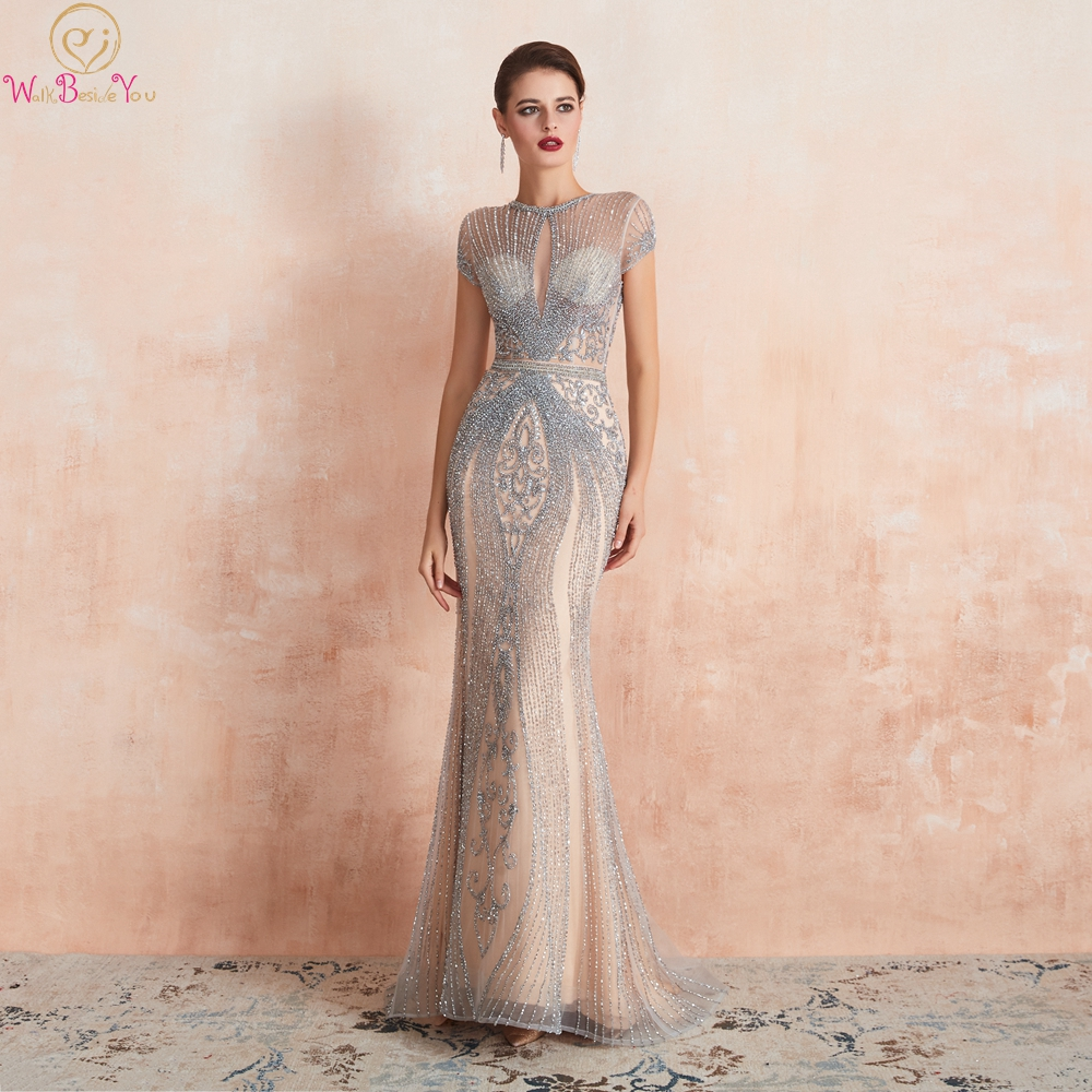 Silver Beaded Crystal Prom Dresses Luxury 2019 Mermaid Cap Sleeves Long Evening Gowns Walk Beside You O Neck See Through Formale