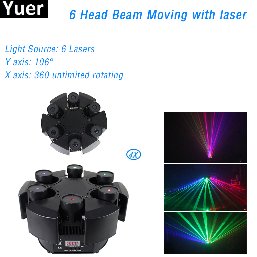 4Pcs/Lot 120W RGB DMX Control Moving Head Light 6 Head Beam Rotate Laser Light AC100-240V DJ Disco Stage Effect Lighting