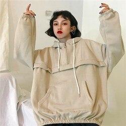 Корейские женские плотные бархатные теплые мягкие толстовки с капюшоном, простые универсальные пуловеры с карманами для отдыха, женские то...