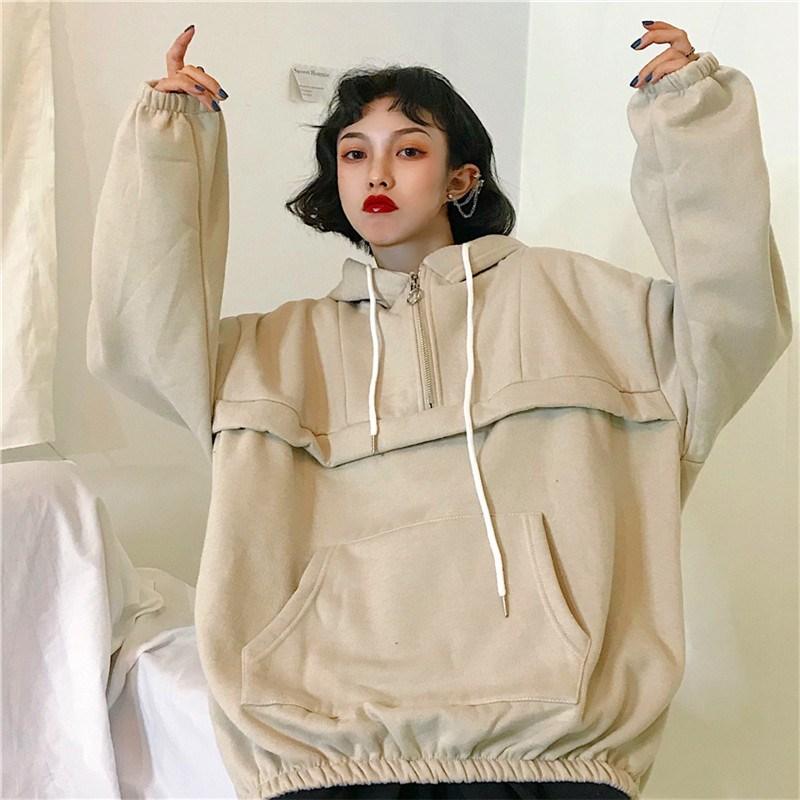 Korean Women Thicker Plus Velvet Warm Soft Hoodies Hooded Simple All-Match Pockets Leisure Pullovers Women Sweatshirts