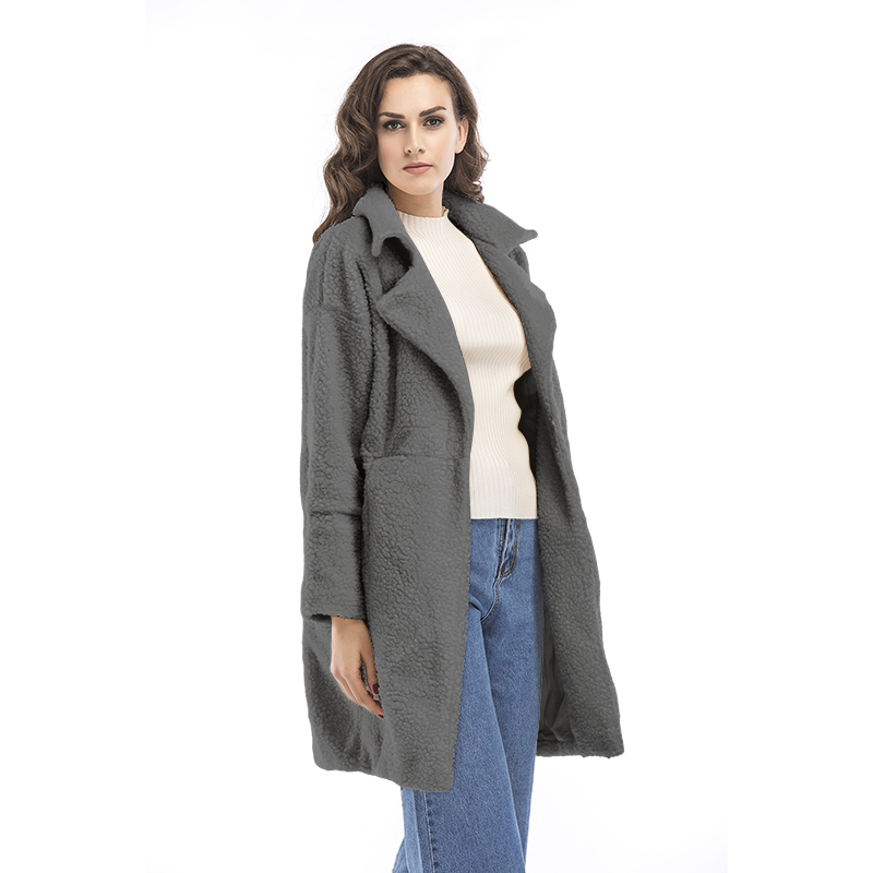 2019 autumn and winter new women's cotton jacket cashmere long-sleeved solid color long coat wool coat 14