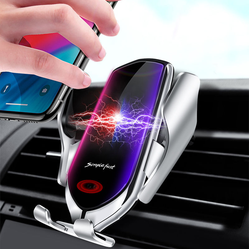 10W Wireless Car Qi Charger foriPhone X Xs XR Auto Clamping Fast Charging Air Vent Holder forSamsung S10 S9 forHuawei Mate30 title=