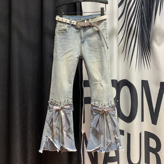 Village High Waist Jeans Women Ripped Cropped Jeans Women's 2020 Spring New Irregular Beaded Bow Flared Denim Pants Ladies Jeans