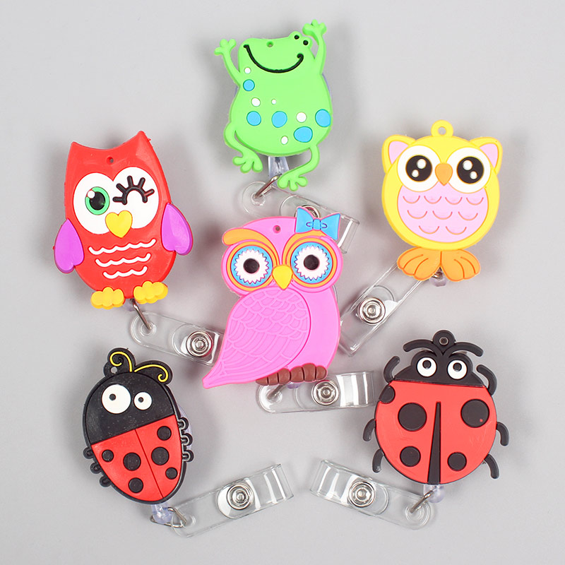 Creative Red Ladybird & Owl Retractable Badge Card Holder Reel Nurse Exhibition Enfermera Boys Girl Gift Glasses Name Card Chest