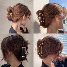 New Women Elegant Gold Silver Hollow Geometric Metal Hair Claws Vintage Hair Clips Headband Hairpins Fashion Hair Accessories