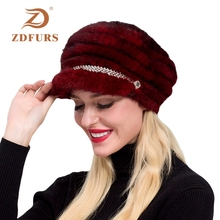 ZDFURS*2019 New Winter Women Knitted Mink Fur Hats Peaked fur Caps  Diamond design Real Beanies Visors Girls Headgears
