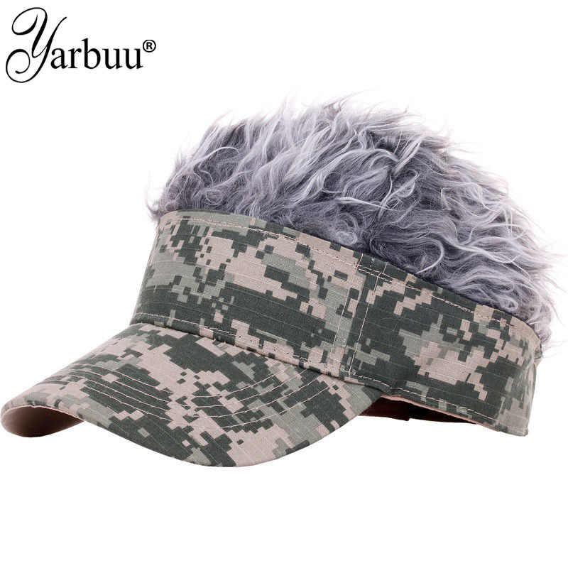 [YARBUU]Hot New Fashion Novelty Baseball Cap Fake Flair Hair Sun Visor Hats Men's Women's Toupee Wig Funny Hair Loss Cool Gifts
