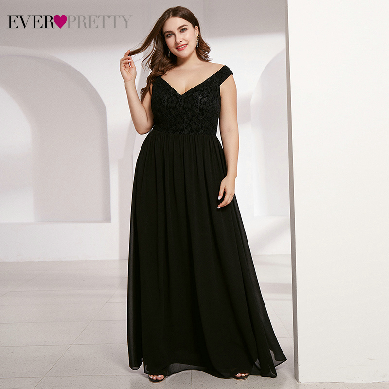 Plus Size Lace Mother Of The Bride Dresses Ever Pretty A-Line Deep V-Neck Sleeveless Elegant Black Wedding Party Gowns 2020