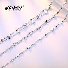 NEHZY-pulsera de plata de ley 925 para mujer, joyería de moda de alta calidad, pulsera simple cuadrada retro de 20CM de longitud