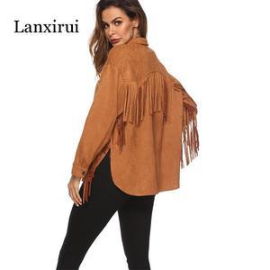 Image 1 - New Fringed long sleeve cashmere jacket spring summer women Plus Overcoat Outwear Fashion Female Warm Windproof coat