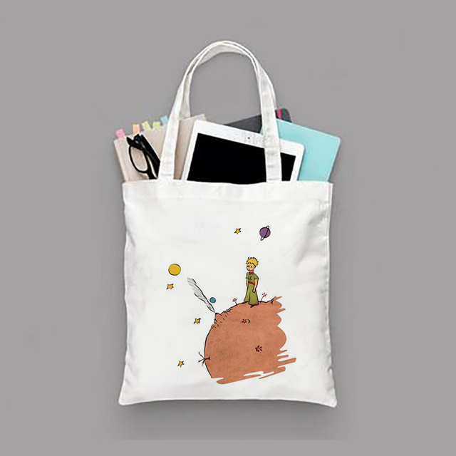 Little Prince Series Printing Canvas Tote Bag Eco Bag Reusable Shopping Bag Recycled Fashion Handbag Daily Use 1