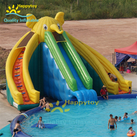 Giant Water Park inflatable elephant slide, 3 sides swimming pool inflatable slide for kids