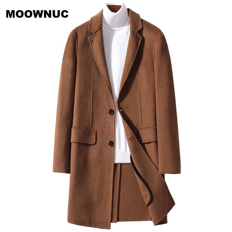 MOOWNUC men Wool Blend Men's Coat Woollen Overcoat Winter Autumn Men Coat Fashion Brand Clothing Lined Warm Woolen Overcoat Male