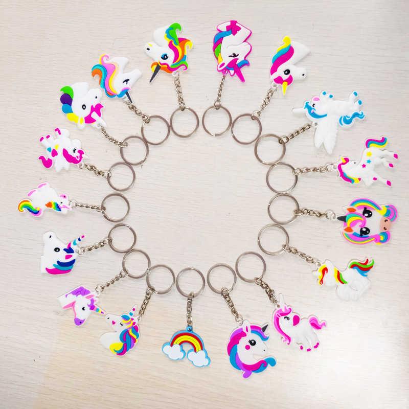 العصرية Diy بها بنفسك لطيف القصص الخيالية البلاستيكية يونيكورن المفاتيح متعددة نمط الحصان حلقات المفاتيح حامل سبيكة مفتاح سلسلة للمرأة بنات مجوهرات هدية