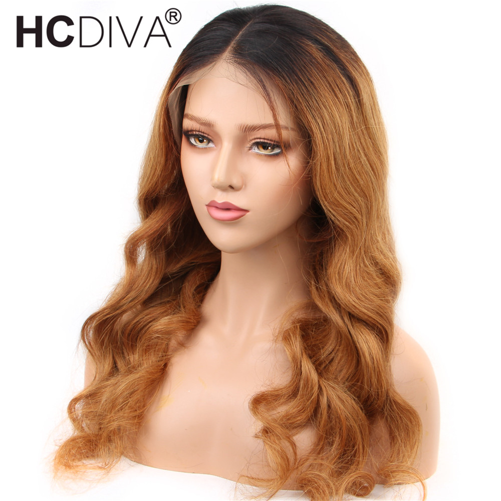 13x4 Lace Front Human Hair Wig 1B/27 Brazilian Body Wave Remy Hair 150% Ombre Colored Human Hair Wigs Pre Plucked With Baby Hair