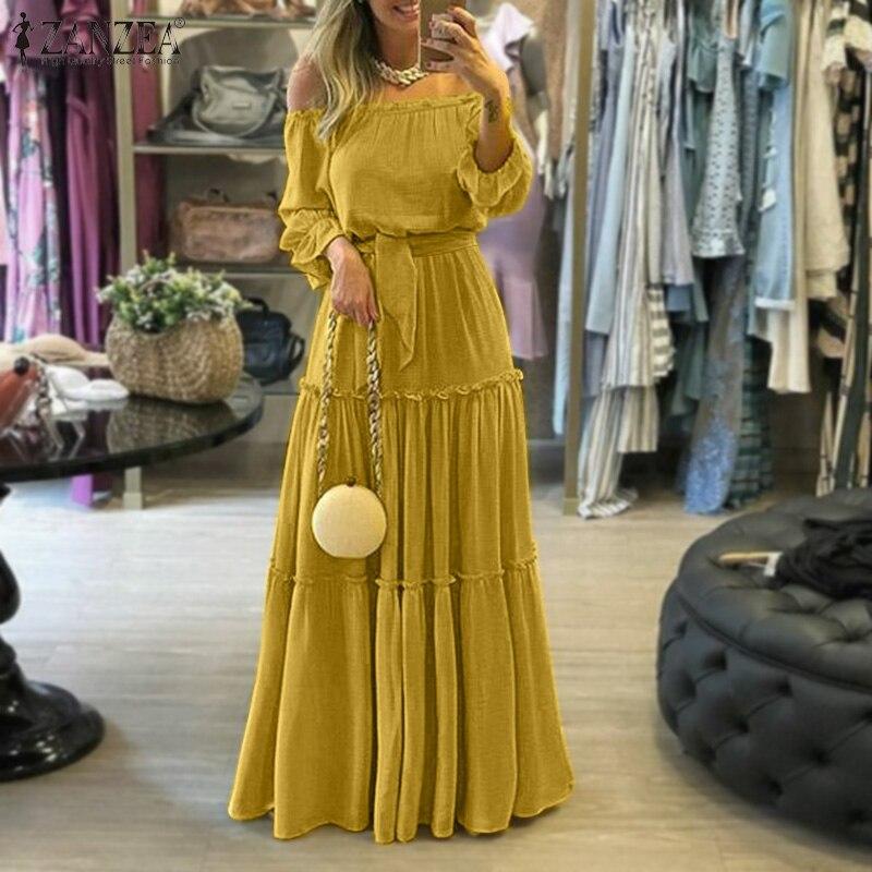 ZANZEA Fashion Off Shoulder Vestidos Female Lace Up Belted Dresses Beach Holiday Ruffle Robe Womens Bohemian Long Maxi Dress 5XL