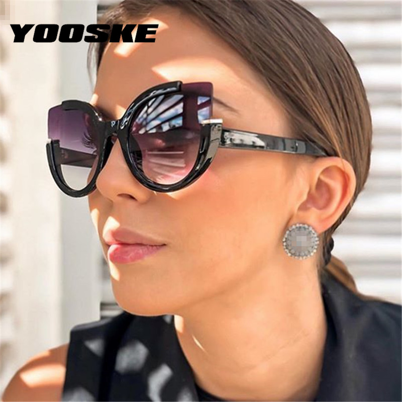 YOOSKE <font><b>Sexy</b></font> <font><b>Cat</b></font> <font><b>Eye</b></font> <font><b>Sunglasses</b></font> <font><b>Women</b></font> <font><b>Brand</b></font> <font><b>Designer</b></font> Mirror Sun Glasses Ladies Gradient Lens Shades for <font><b>Women</b></font> Eyewear UV400 image