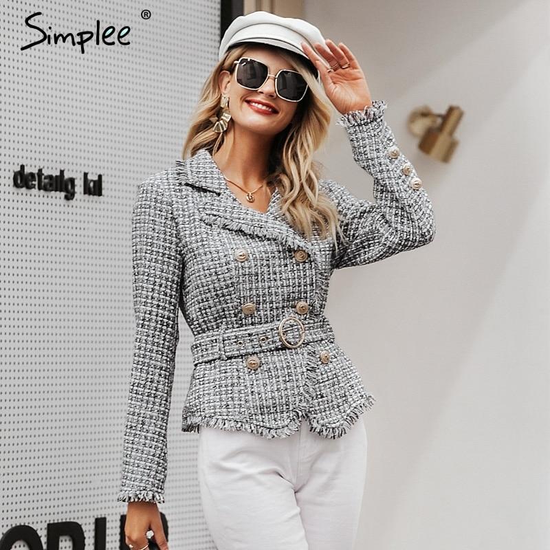 Simplee Plaid Frayed Edge Tweed Jacket Coat Women V-neck Double Breasted Button Belt Ladies Coat Long Sleeve Outwear Blazer Coat