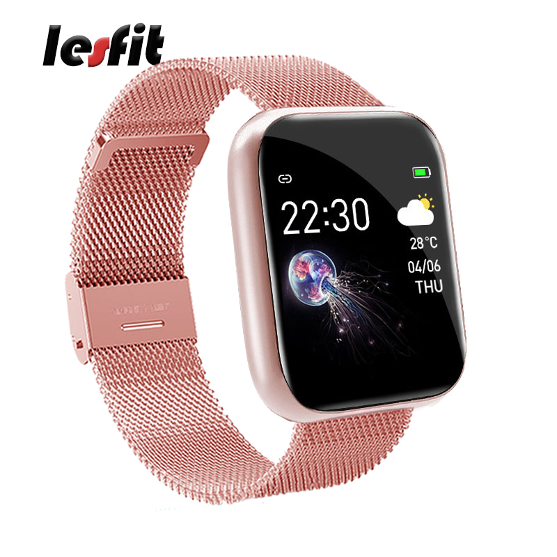 Lesfit Pink Stainless Steel Smart Women Watch For Android Electronics Smartwatch Men Clock Fitness HR BP Rate Tracker Wristbands