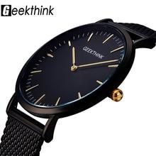 GEEKTHINKสุดหรูแบรนด์นาฬิกาควอตซ์ชายนาฬิกาสีดำญี่ปุ่นMovtสแตนเลสตาข่ายสายUltraบางนาฬิกาชาย
