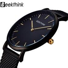 GEEKTHINK montre à Quartz pour hommes, marque de luxe, noir, Movt, japon, bracelet en mailles en acier inoxydable, horloge ultra fine