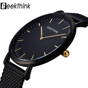 Image 1 - GEEKTHINK reloj de cuarzo para hombre, correa de malla de acero inoxidable, informal, negro